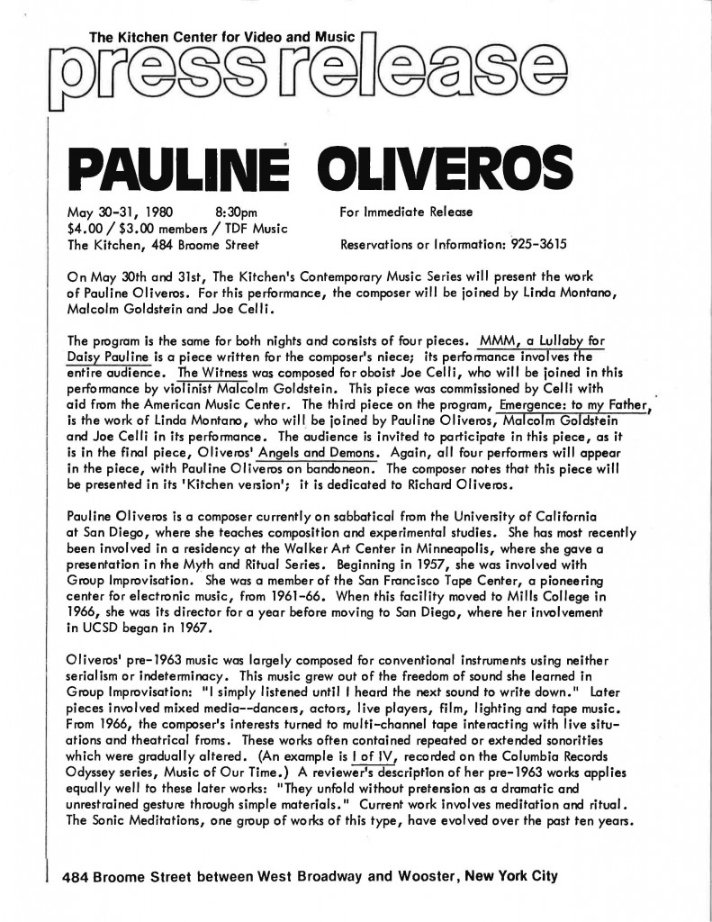 PressRelease_Oliveros_PaulineOliverosandFriends_1980