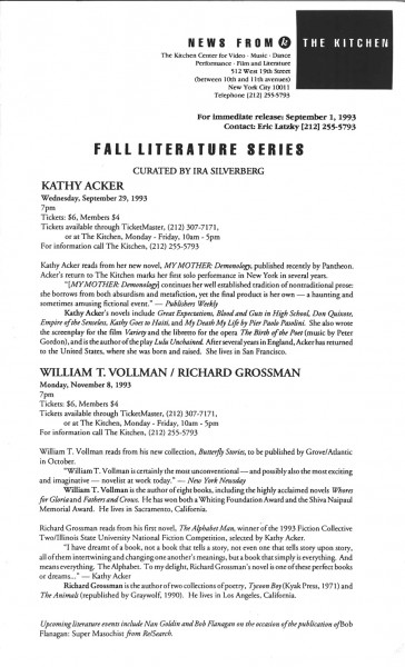 Press-Release_Acker_Kathy_Lit-Series_1993_ForWeb