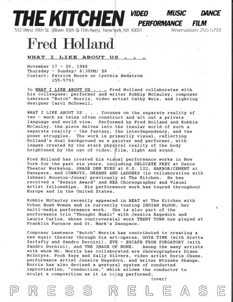 Fred Holland, What I Like About Us, Press Release, The Kitchen